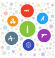 7 gun icons vector image vector image