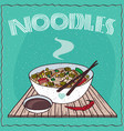 asian noodle soup ramen or udon with vegetables vector image