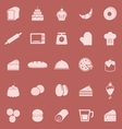 Bakery color icons on red background vector image