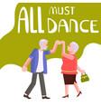 banner happy elderly people dancing vector image vector image