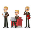 blonde businessman working on gadgets vector image vector image