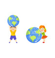 boy holding globe over head girl hugging it vector image