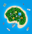 cartoon color tropical island in water vector image vector image