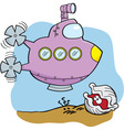 Cartoon submarine and clam vector image vector image