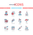 christmas symbols - line design style icons set vector image