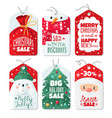 christmas tag decorative gift labels with santa vector image vector image