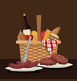 color scene of picnic basket with foods and vector image vector image
