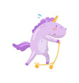 cute unicorn character riding kick scooter funny vector image vector image