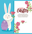 eggs paint with rabbit and flowers easter season vector image vector image