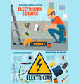 electricity repair service electrician worker vector image vector image