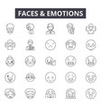 faces emotions line icons signs set vector image vector image