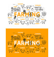 farming line art posters for farm animals and food vector image vector image
