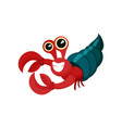 flat icon of red hermit crab with shell vector image