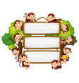 frame design with many monkeys around border vector image vector image