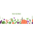 fresh vegetables banner farming seamless pattern vector image vector image