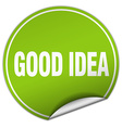 good idea round green sticker isolated on white vector image vector image