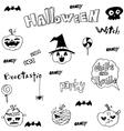 Halloween art pumpkins set in doodle vector image