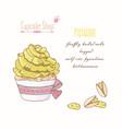 hand drawn cupcake pistachio flavor vector image vector image