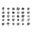 hashtag hand drawn icons set vector image