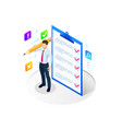 isometric businessman with checklist and to do vector image vector image