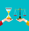 justice scales and hourglass in human hands crime vector image