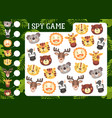 kids i spy game with cartoon animals characters vector image vector image
