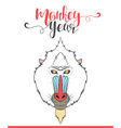 Lettering calligraphy with monkey Happy monkey vector image