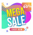 mega sale template for instagram vector image vector image