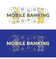 mobile banking flat line concept for web banner vector image vector image