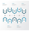 music outline icons set collection of earphones vector image vector image
