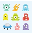 Pixel art aliens isolated set vector image