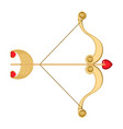 retro cupid bow and arrow with heart and vector image vector image