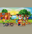 road scene with kids and family riding bikes vector image