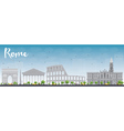 Rome skyline with grey landmarks vector image