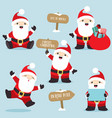 santa claus in fun poses christmas set 4 vector image