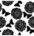 seamless background with butterflies and roses vector image vector image