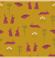 seamless pattern with rabbits and wildflowers vector image vector image