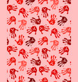 seamless pattern with red baby hands with ribbon vector image vector image