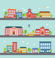 set building icons in a town vector image vector image
