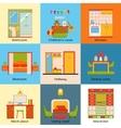 set interior design home rooms flat design vector image