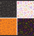 set of seamless halloween background vector image