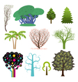set trees in different styles vector image vector image