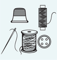 Spool with threads sewing button and thimble vector image
