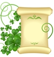 St patricks day invitation with parchment scroll vector | Price: 1 Credit (USD $1)