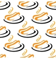 Steaming hotdogs seamless pattern vector image vector image