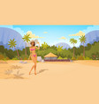 tanned woman in bikini on beach sexy girl wear vector image