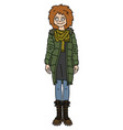 the funny redhead girl in a green jacket vector image
