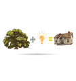 Tree drawing and house vector image vector image
