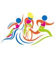 Triathlon icon in colors vector image vector image