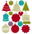 Vintage christmas labels with pattern of stitch vector image vector image